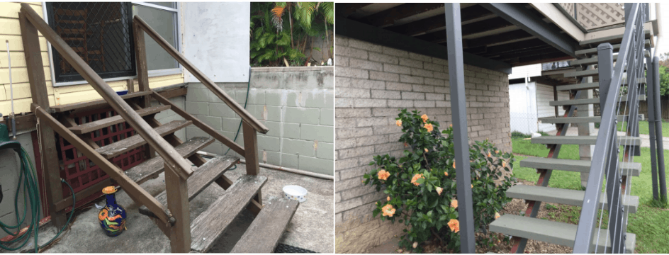 Stairs without handrails Building inspection logan