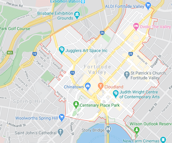 fortitude valley on map