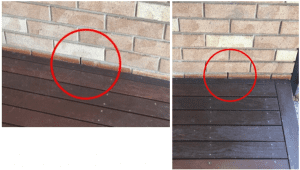 weep holes covered by deck