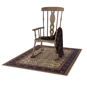 wood chair and carpet