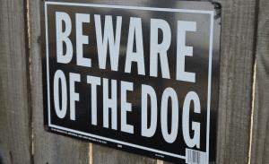beware of dog sign