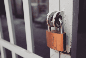 locked gate stock image